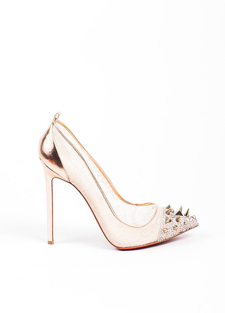 "Rose Gold Christian Louboutin Leather ""Potpourri"" Spike Toe Lace Pumps Sideview"