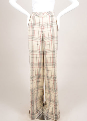 Delpozo New With Tags Cream, Red, and Black Wool Plaid Ultra Wide Leg Trousers Frontview