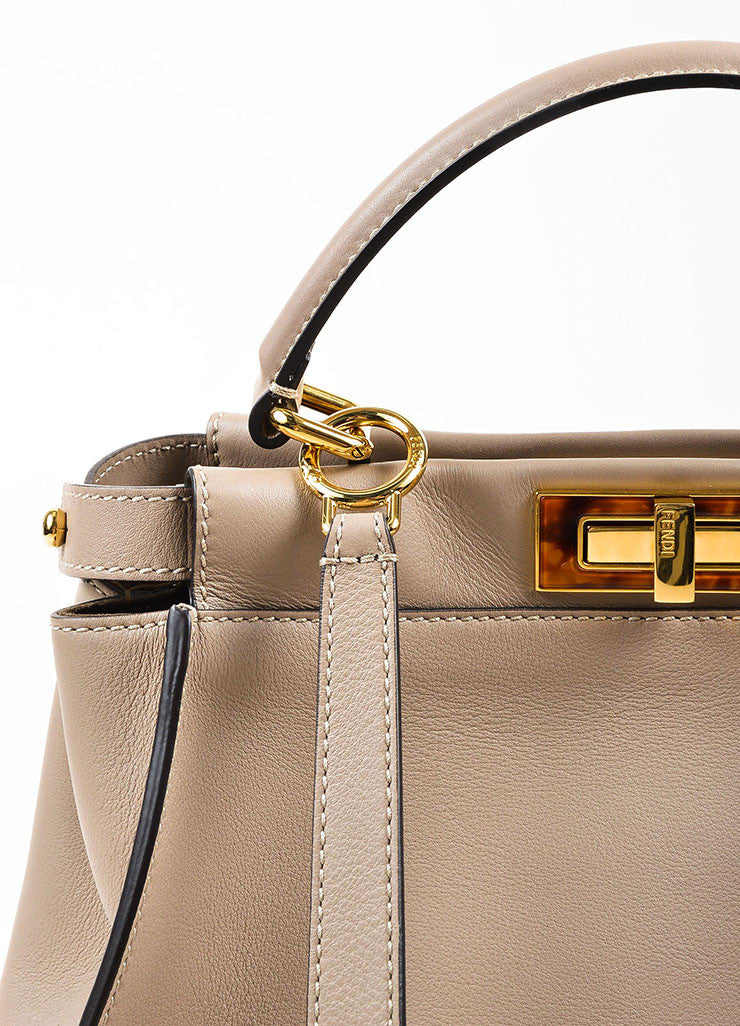 "Fendi Taupe Brown Leather Tortoiseshell Gold Toned ""Peekaboo"" Satchel Bag Detail 2"