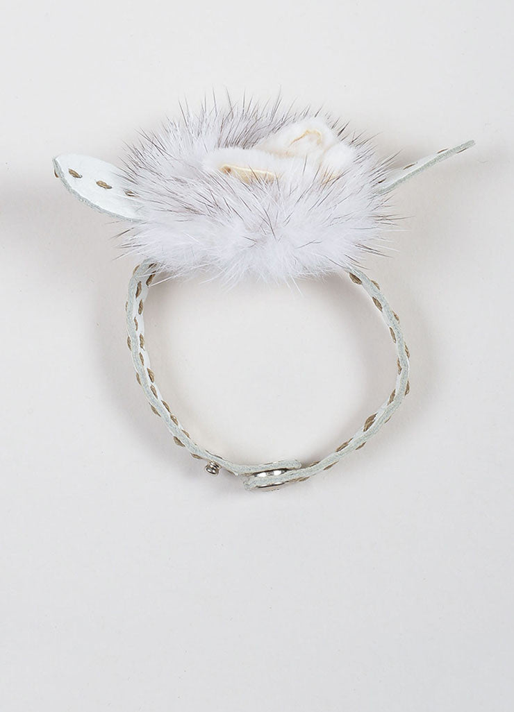 White Fendi Leather and Mink Fur Flower Wrap Bracelet Topview