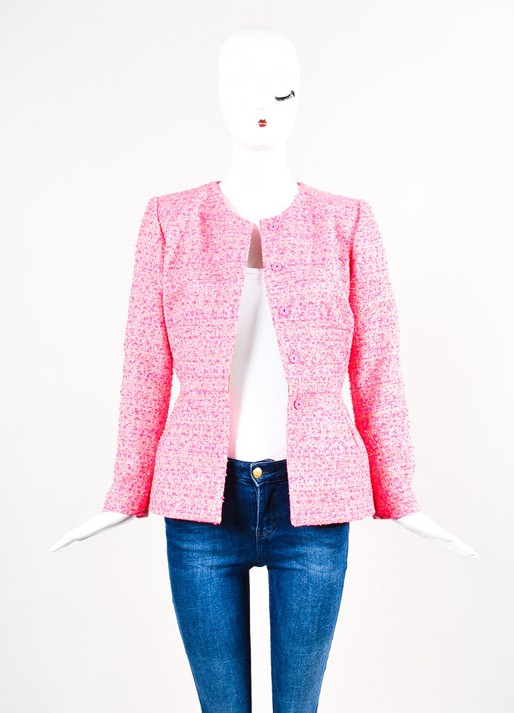 Neon Pink Giambattista Valli Woven Tweed Long Sleeve Blazer Jacket Front