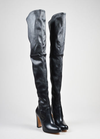 Black Gianvito Rossi Leather Stretchy Pull On Thigh High Boots Frontview