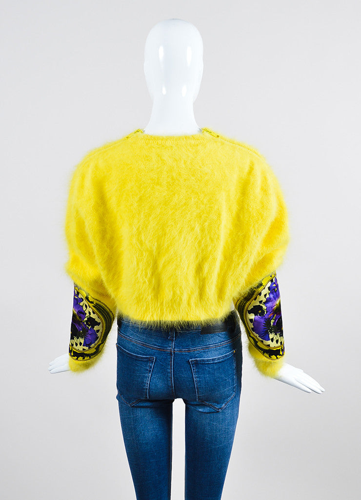 Yellow Givenchy Angora Floral Patch Fuzzy Long Sleeve Crop Sweater Backview