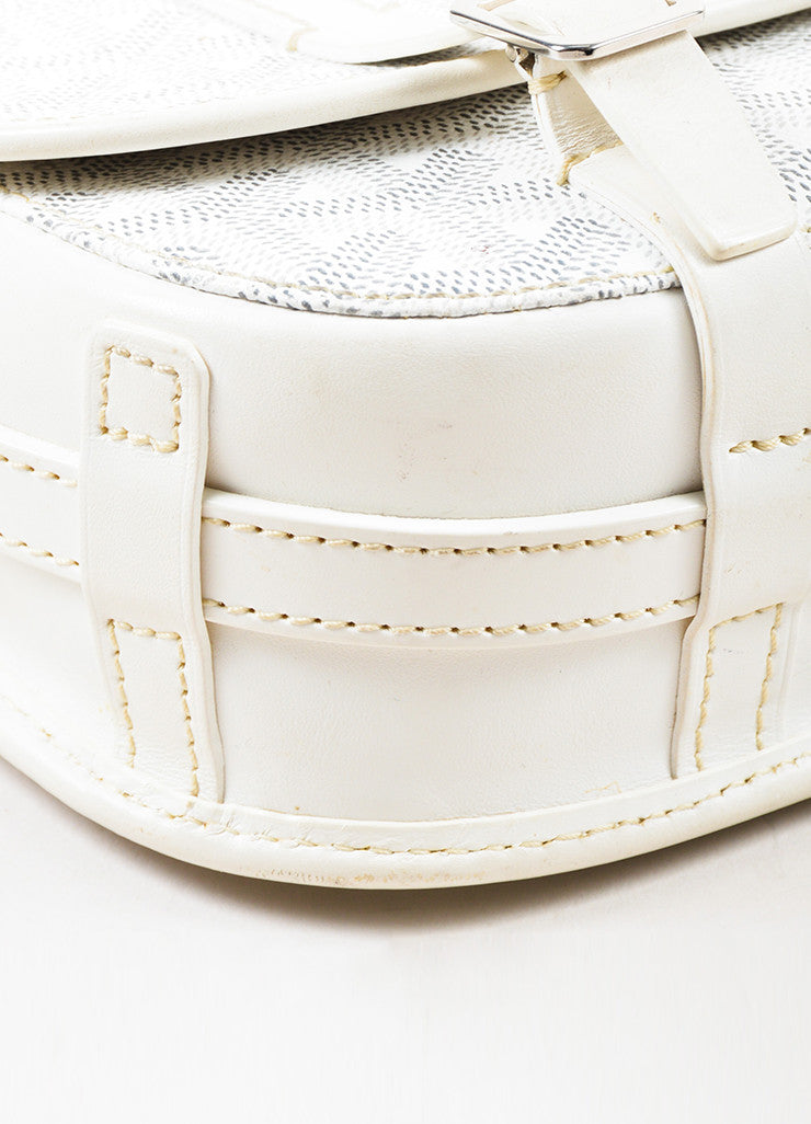"Goyard White Goyardine Coated Canvas ""Belvedere PM"" Leather Crossbody Bag Detail"