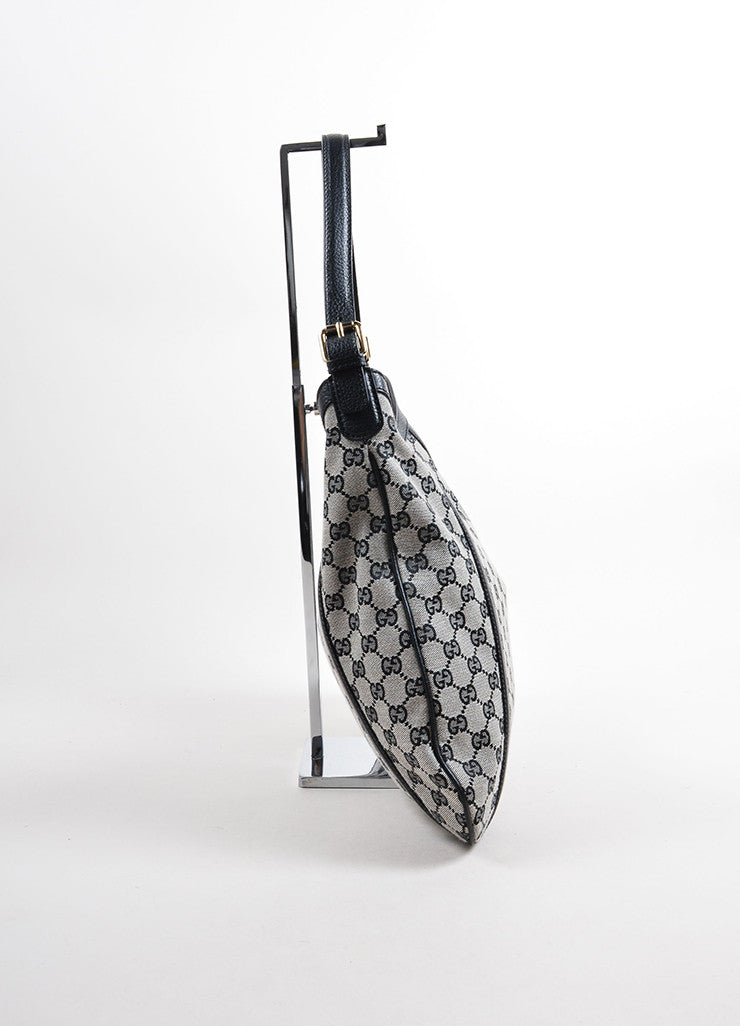"Gucci Black ""GG"" Monogram Canvas Hobo Bag Sideview"