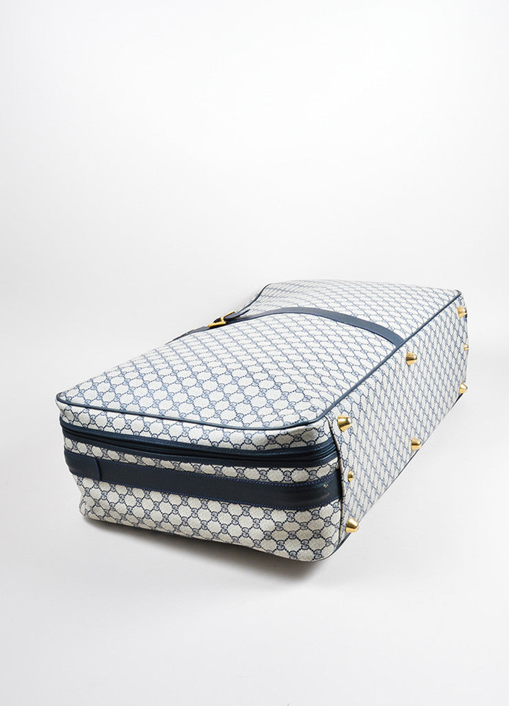 Blue, Cream, and Red Gucci Coated Canvas and Leather 'GG' Monogram Luggage Bag Bottom View