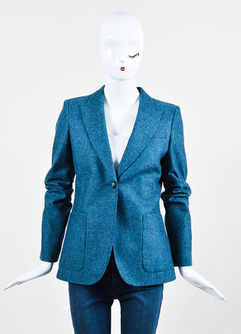 Blue Gucci Wool Speckled Blazer Jacket Frontview 2