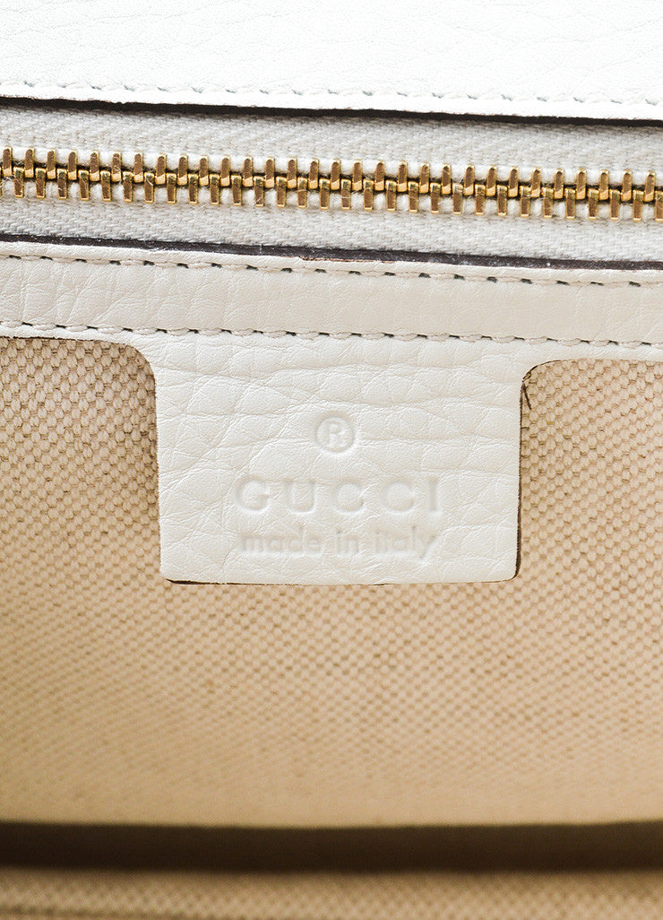 White Gucci Leather Bamboo Handle Shoulder Strap Tassel Bag Brand