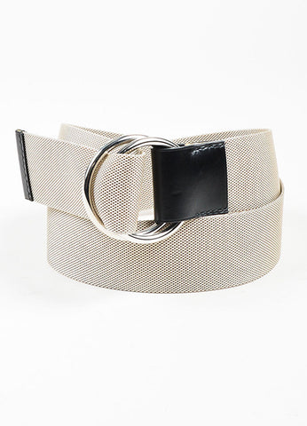 Beige Hermes Canvas Silver Toned Ring Hardware Belt Frontview