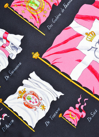 "Black, Pink, and Green Hermes Silk ""Pavois"" Printed 90cm Scarf Detail"