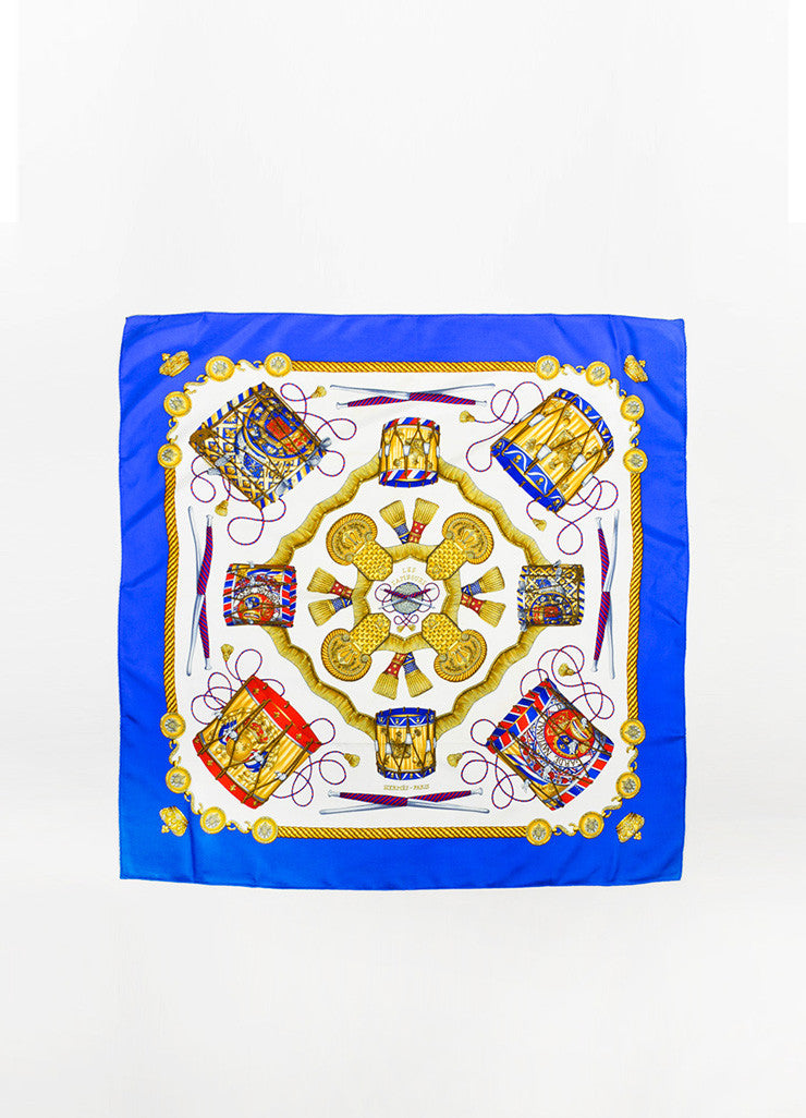 "Hermes Blue, Gold, and Red Silk ""Les Tambours"" Drum Print 90cm Scarf Frontview 2"