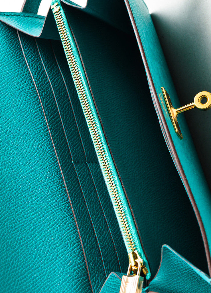 "Hermes Bleu Paon Teal Epsom Leather ""Kelly"" Long Money Holder Wallet Interior"