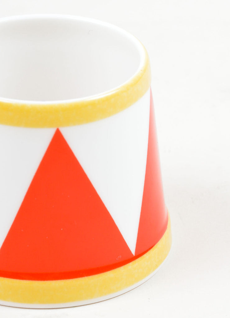 "White, Red and Yellow Hermes Porcelain ""Le Tambour"" Circus Print Egg Holder Side"