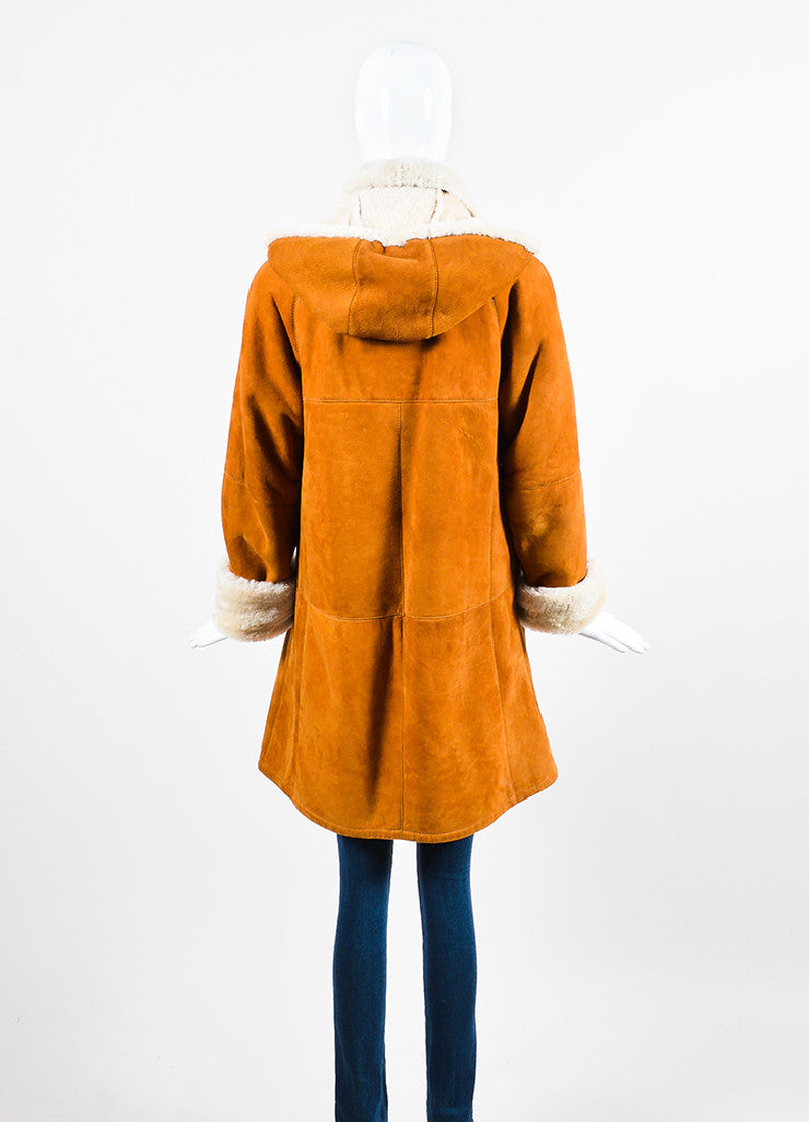 Hide Society Tan and Beige Suede and Shearling Hooded Coat Backview