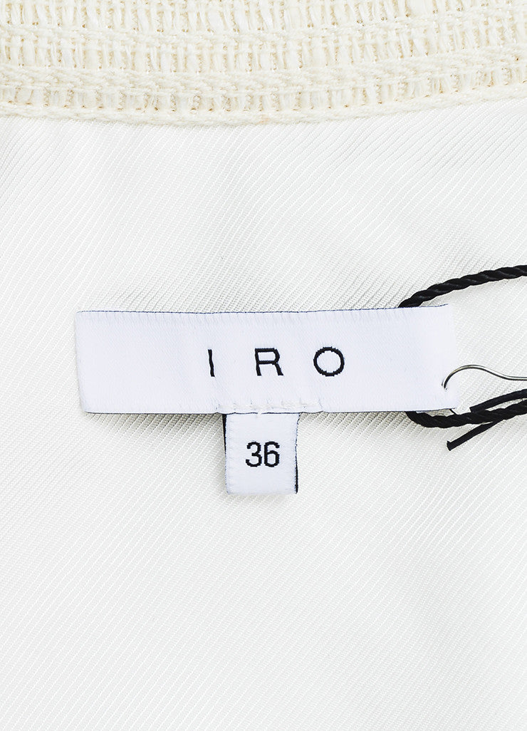 "IRO Cream Linen Blend Textured Leather Tie Belted ""Ambar"" Jacket Brand"