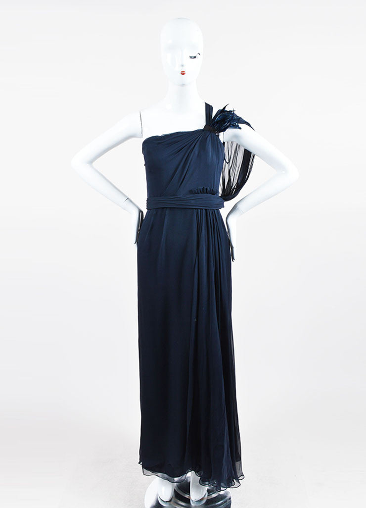 Navy J. Mendel Silk Feather Embellished Draped One Shoulder Gown Frontview