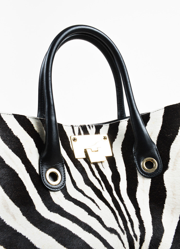 "Black and White Jimmy Choo Pony Hair Zebra Print ""Riley"" Tote Bag Detail 3"