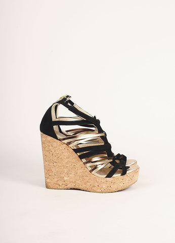 Jimmy Choo Black and Gold Suede Peekaboo Cork Wedges Sideview