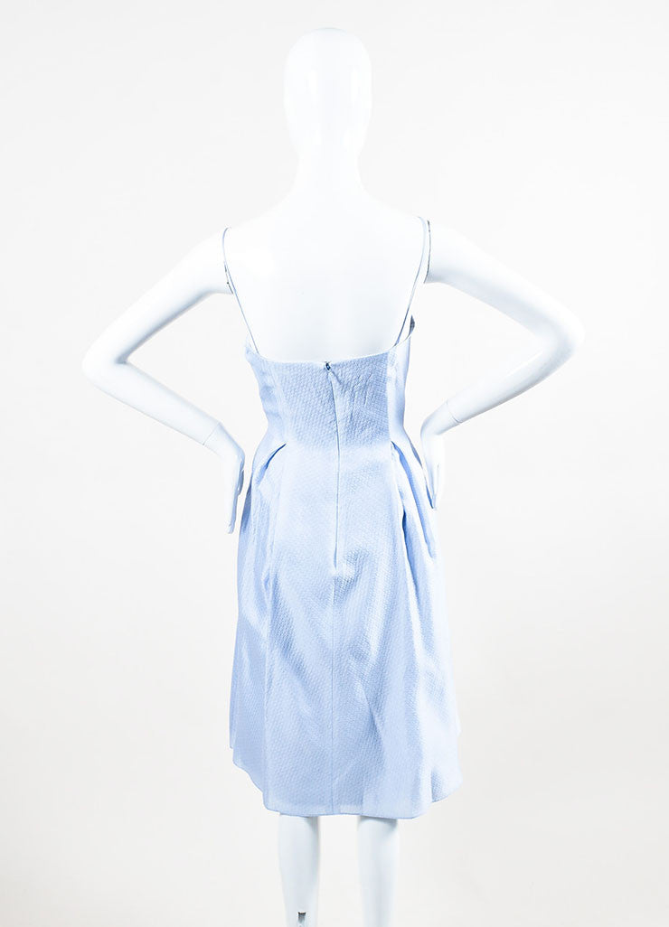 Periwinkle Blue Kay Unger Silk Textured Pleated A Line Dress Back
