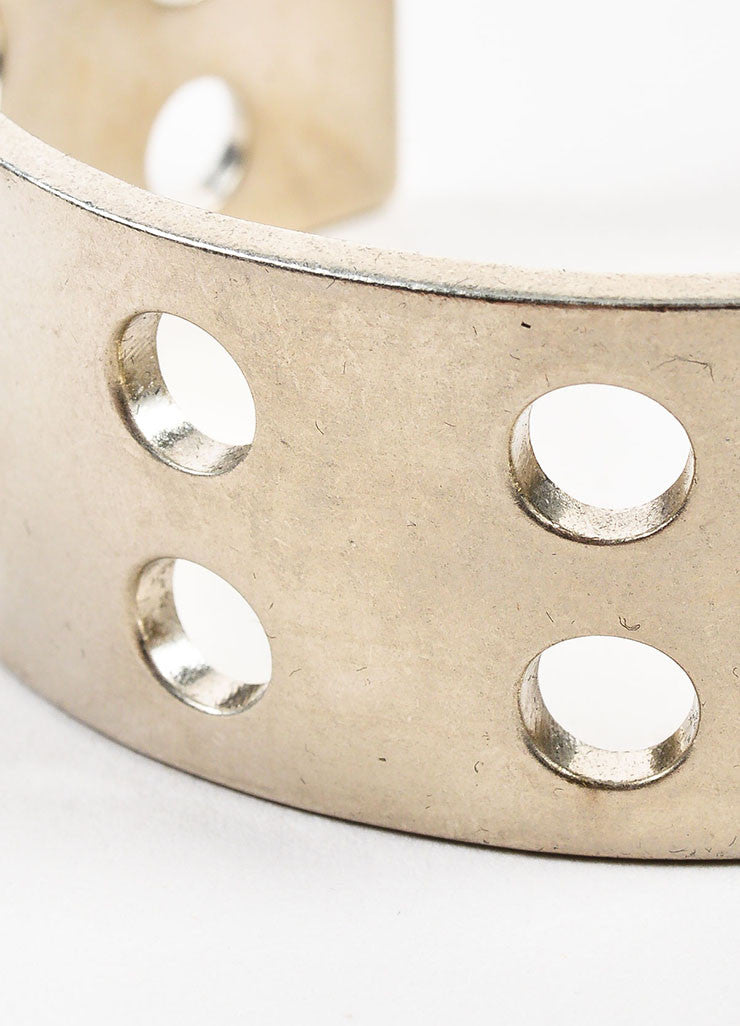 Silver Toned Kelly Wearstler Double Row Perforations Cuff Detail