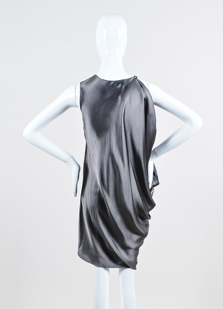Lanvin Smoky Grey Asymmetrical Bat Wing Sleeveless Dress Backview