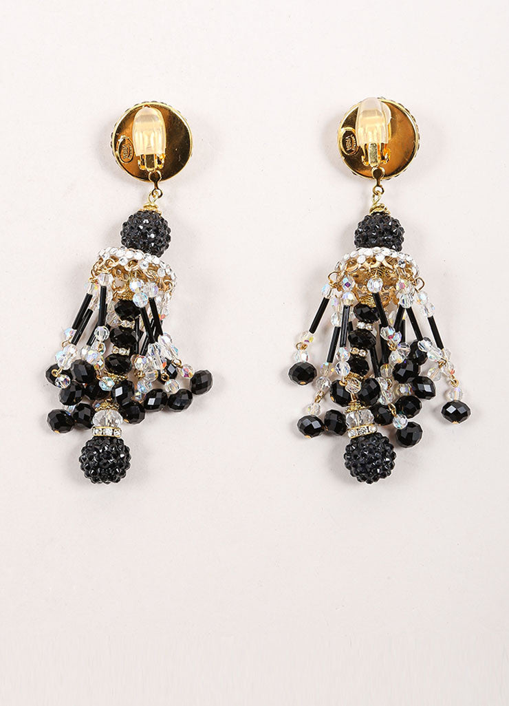 Lawrence Vrba Black and Gold Toned Bead and Rhinestone Chandelier Earrings Backview