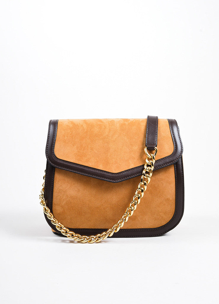 "Tan, Brown, and Orange Loewe Suede Leather Flap Cut Out ""V"" Shoulder Bag Frontview 2"