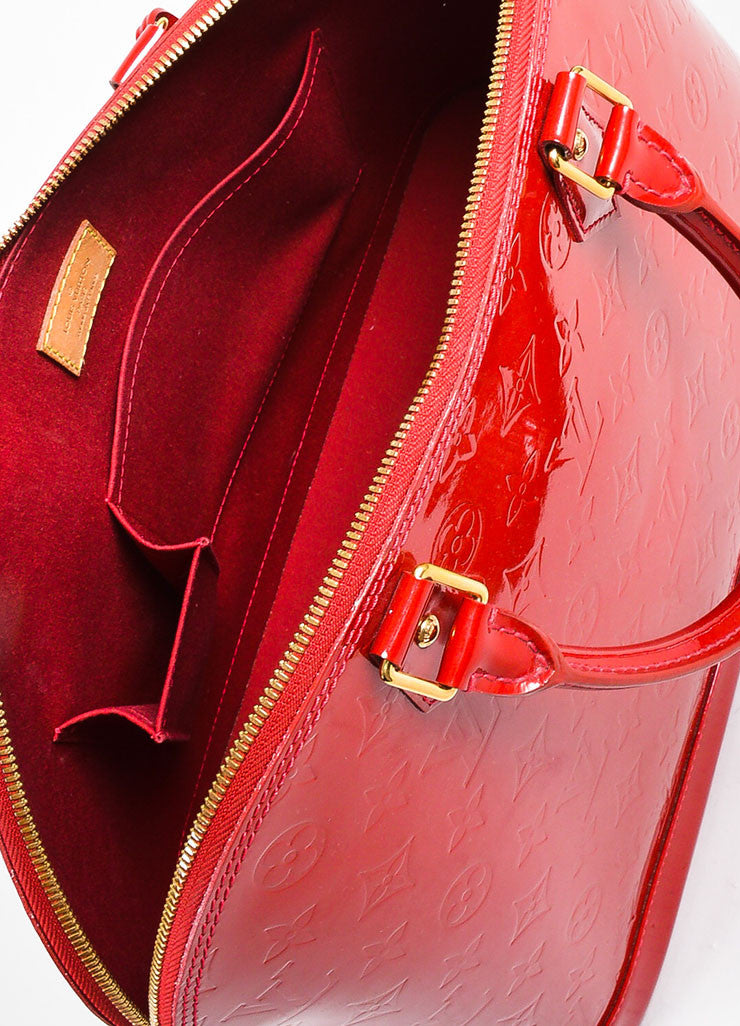 "Louis Vuitton ""Pomme"" Red ""Vernis"" Leather Monogram ""Alma GM"" Satchel Bag Interior"