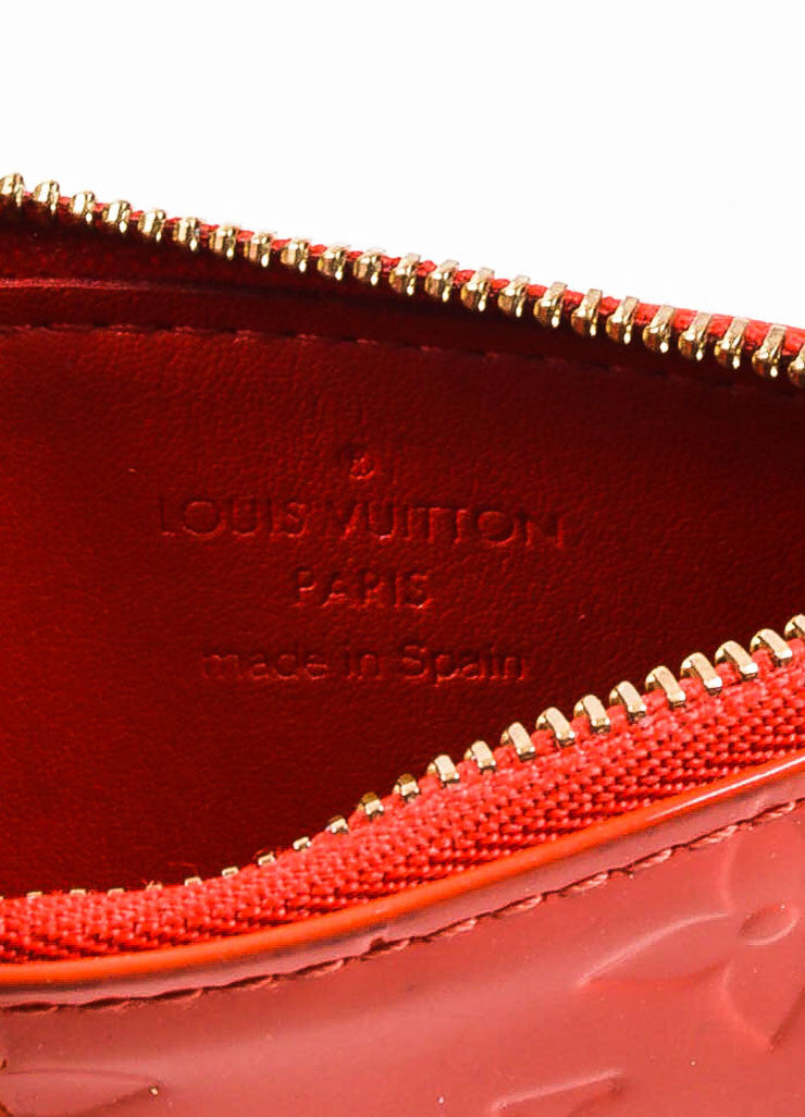 Louis Vuitton Cherry Red Vernis Patent Leather Embossed Monogram Key Pouch Brand