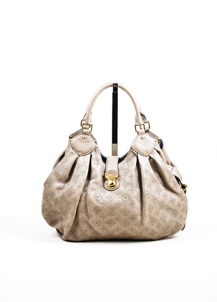 "Grey Louis Vuitton Perforated Monogram Leather ""Mahina L"" Hobo Tote Bag Frontview"