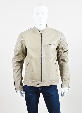 "Men's Belstaff Beige Leather Quilted ""Braxton"" Moto Jacket Front 2"