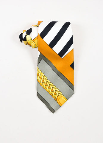 Men's Black White Yellow Hermes Woven Silk Printed Necktie Front
