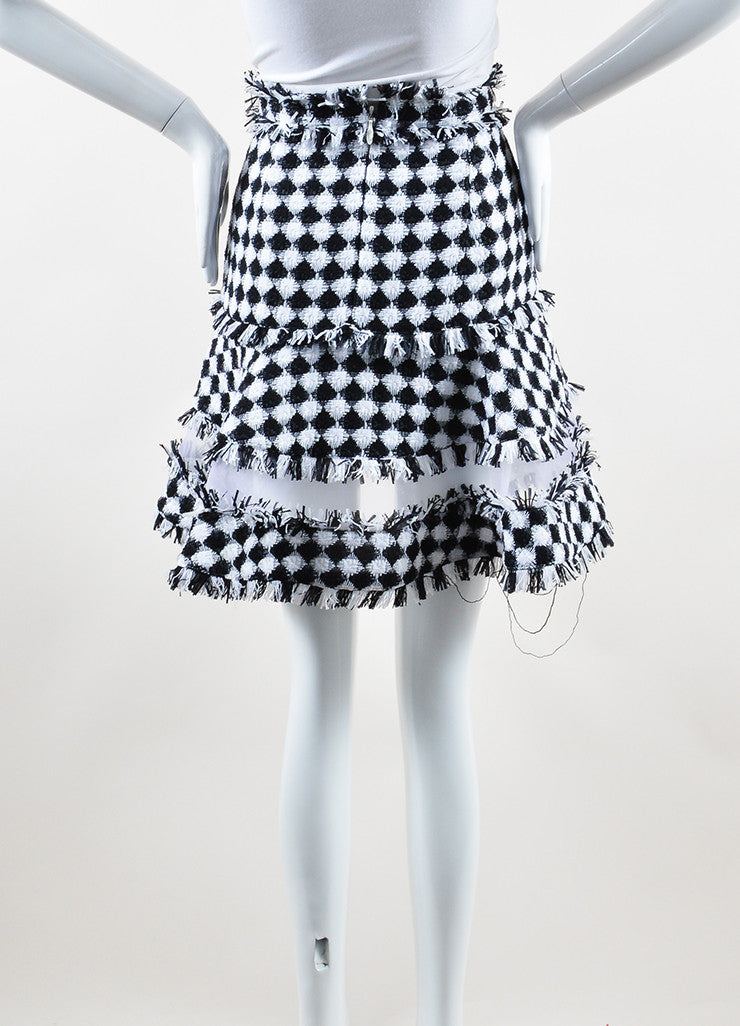 MSGM Black and White Cotton Tweed Sheer Panel Flared Mini Skirt Backview