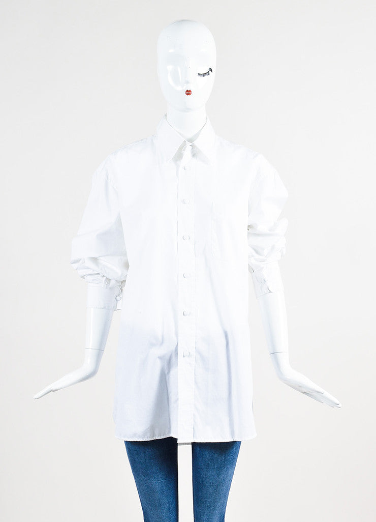 Maison Martin Margiela White Buttoned Shirt with Removable Collar and Cuffs Frontview 2