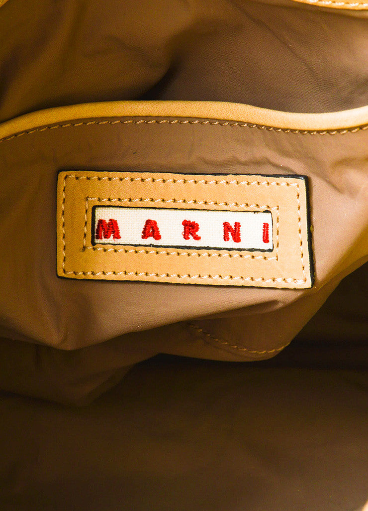 Marni Tan and Yellow Leather Studded Accent Bicolor Color Block Shoulder Tote Bag Brand