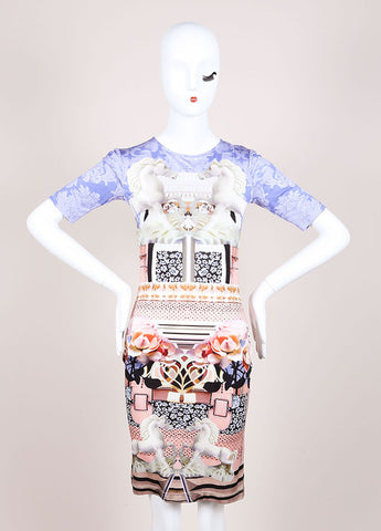 "Mary Katrantzou New With Tags Pink and Blue Silk Jersey Photo Print ""Powdy"" Dress Frontview"