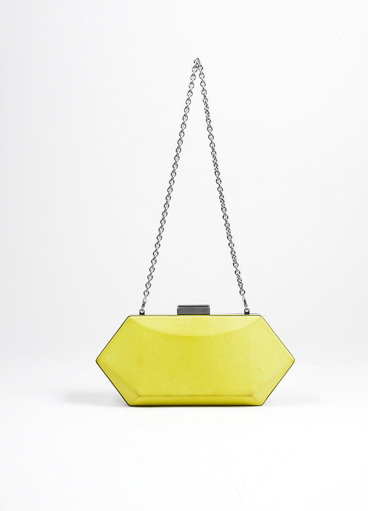"Neon Yellow Oscar de la Renta Leather ""Cara"" Convertible Clutch Bag Frontview"