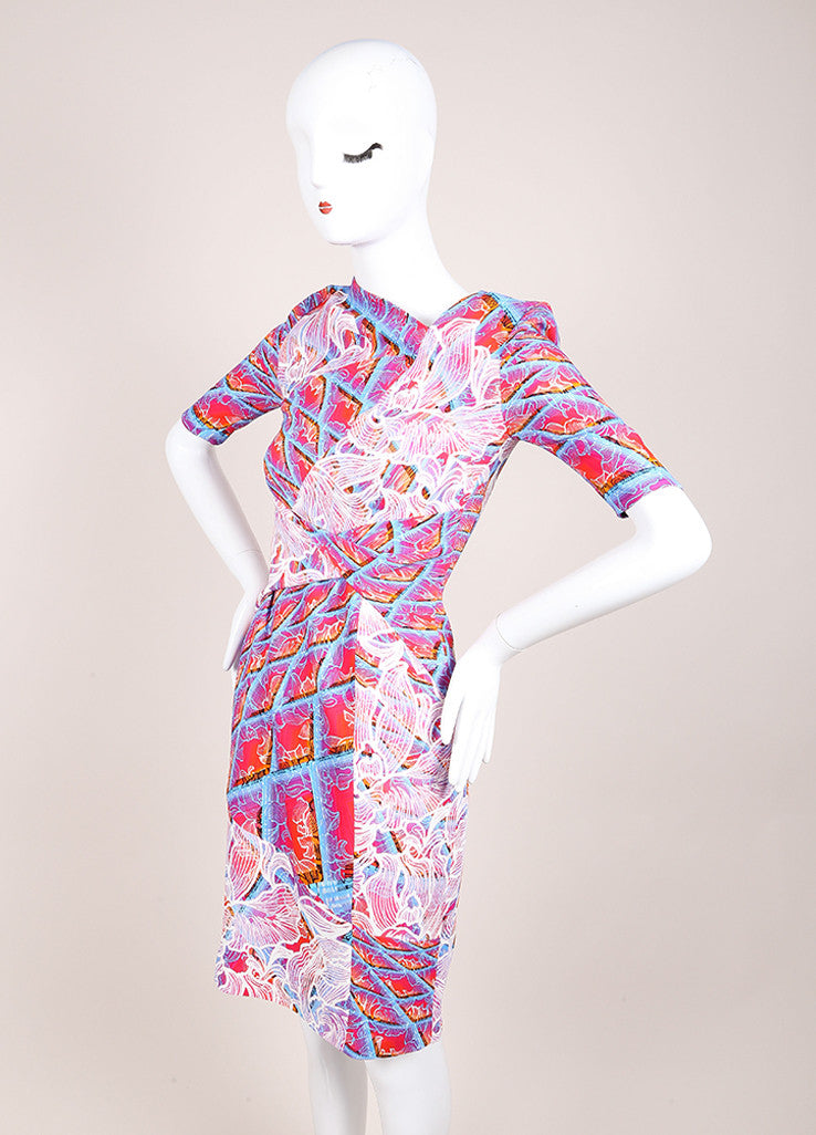 "Peter Pilotto New With Tags Pink and Blue Floral Ombre Half Sleeve ""Grid"" Dress Sideview"