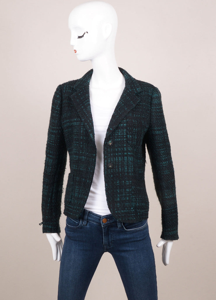 Prada Black and Green Wool Tweed Plaid Long Sleeve Blazer Jacket Frontview