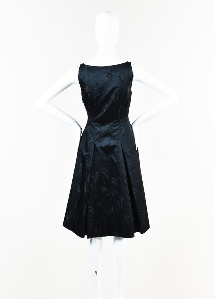 Prada Black Silk Floral Brocade Pleated A-Line Dress back