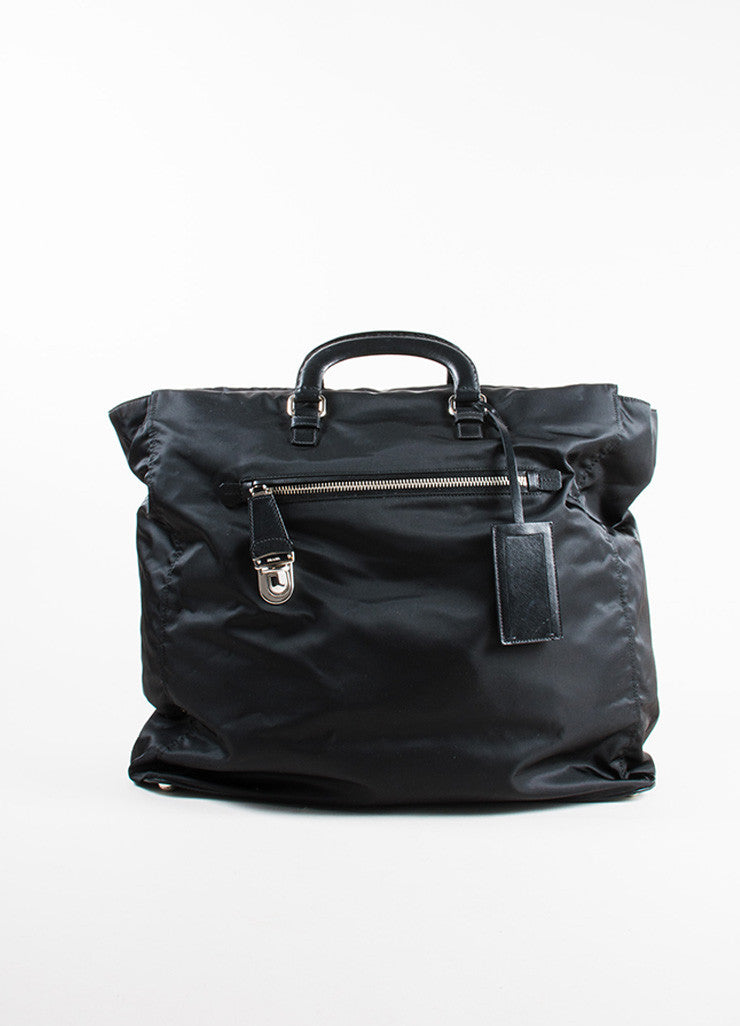 Prada Black Nylon Leather Top Handle Zip Weekender Tote Bag Frontview