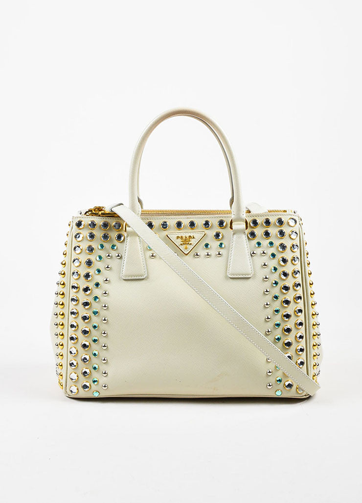 Prada Cream Saffiano Leather Rhinestone Stud Embellished Tote Handbag Frontview