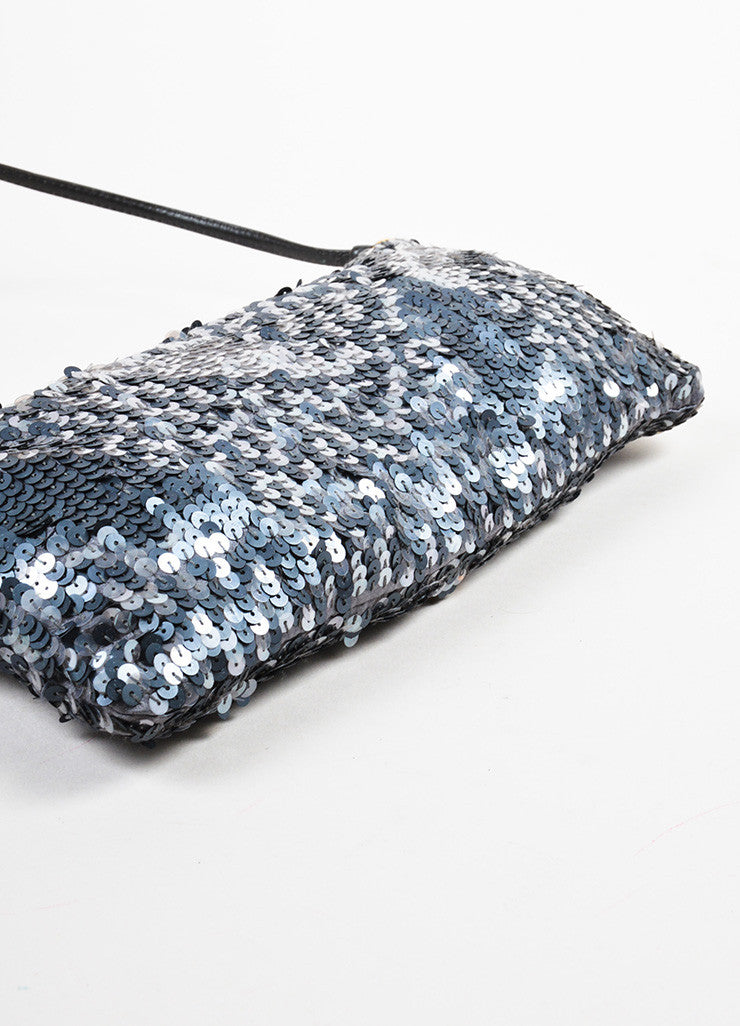 Prada Grey Satin Sequin Embellished Evening Shoulder Bag Bottom View