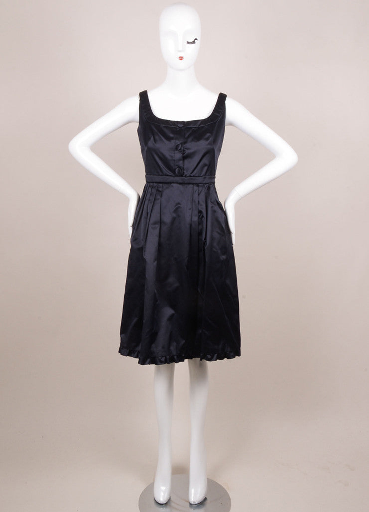 Prada Navy Silk Fit and Flare Ruffle Sleeveless Dress Frontview