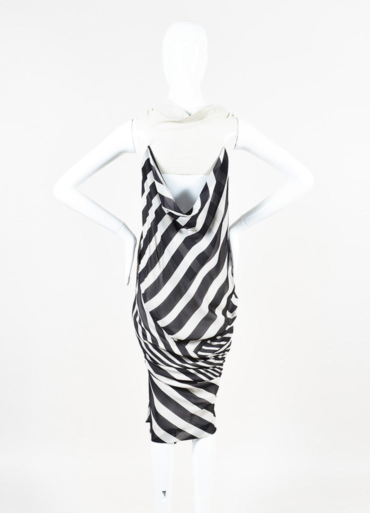 "Rick Owens ""Creatch"" Black and White Mesh Chiffon Multi Striped Draped Dress Backview"