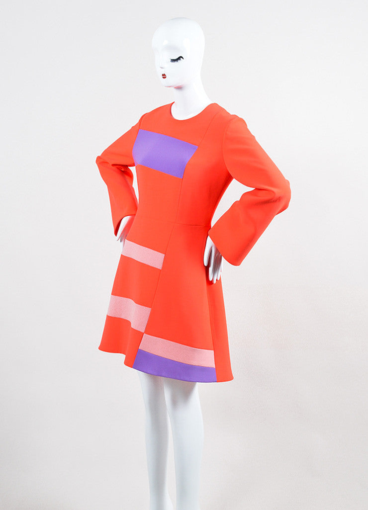 "Coral and Lavender Roksanda Color Block Crepe ""Albin"" A-Line Dress Sideview"