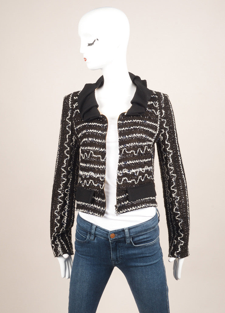Black and White Cotton Blend Metallic Zig Zag Knit Cropped Jacket