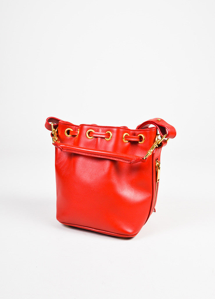 "Saint Laurent Red Leather Gold Toned ""Small Emmanuelle Bucket"" Crossbody Bag Sideview"