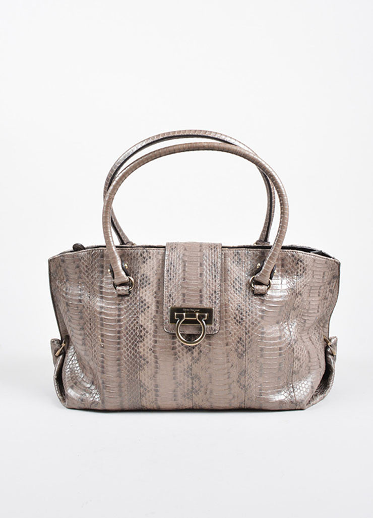 "Silver-Grey Metallic Python Salvatore Ferragamo ""Sophia"" Tote Bag Frontview"