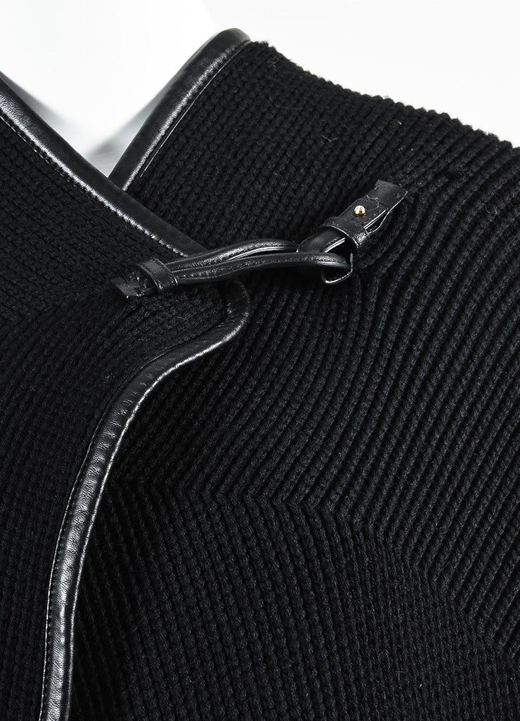 Salvatore Ferragamo Black Wool Leather Trimmed Oversized Sweater Detail